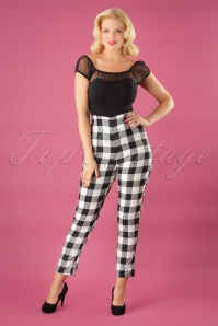 50s Bonnie Gingham Trousers in Black and White