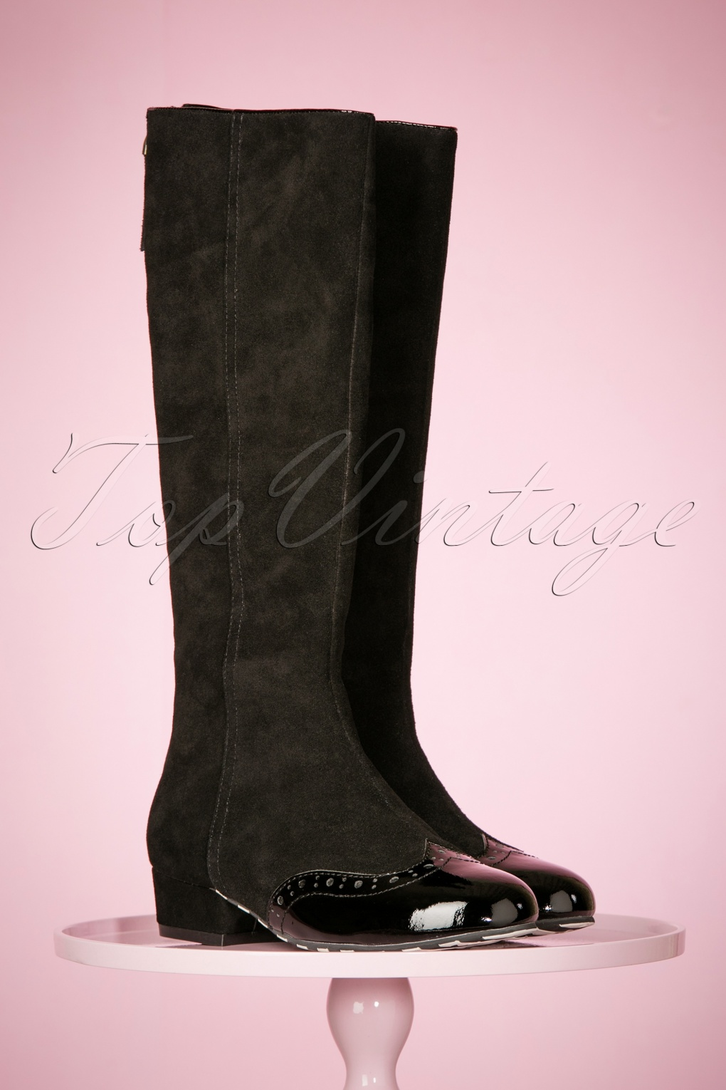 Retro Boots, Granny Boots, 70s Boots 60s Alice Dreaming Suede Boots in Black £218.86 AT vintagedancer.com