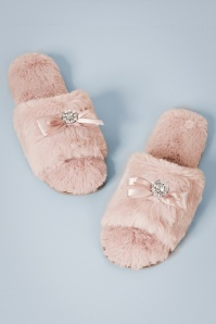 50s Josie Plush Slippers in Dusty Pink