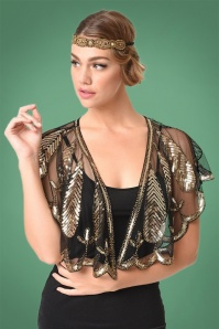 20s Gold Sequin Flapper Capelet in Black