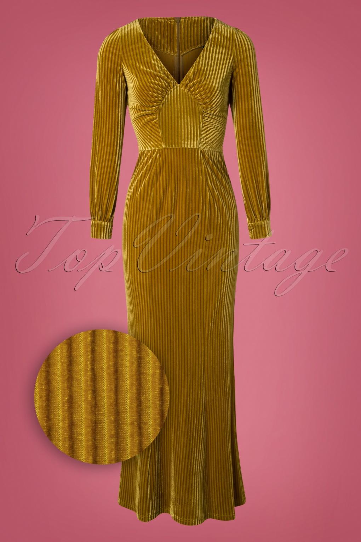1930s Dresses | 30s Art Deco Dress 30s Olivia Velvet Maxi Dress in Mustard £61.25 AT vintagedancer.com