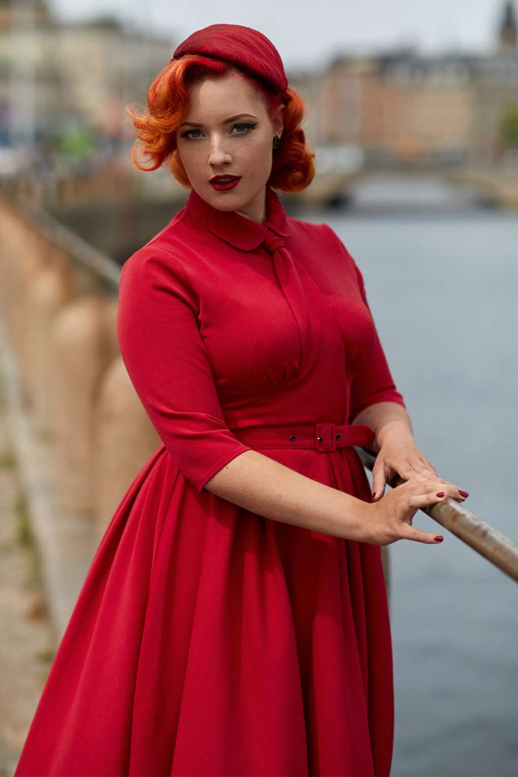 1940s Plus Size Fashion: Style Advice from 1940s to Today 40s Adele Rose Neck Tie Swing Dress in Red £68.90 AT vintagedancer.com