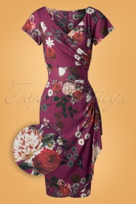 50s Elsie Pencil Dress in Bordeaux Bouquet