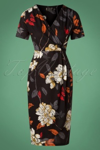 50s Autumn Bouquet Sarong Dress in Black