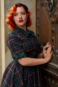 Miss Candyfloss Emerald Check 50s Lea Dress 102 49 26298 002