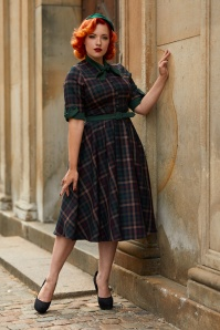 Miss Candyfloss Emerald Check 50s Lea Dress 102 49 26298 001