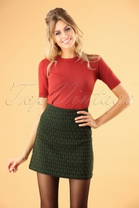 60s Olivia Uptown Skirt in Dragonfly Green