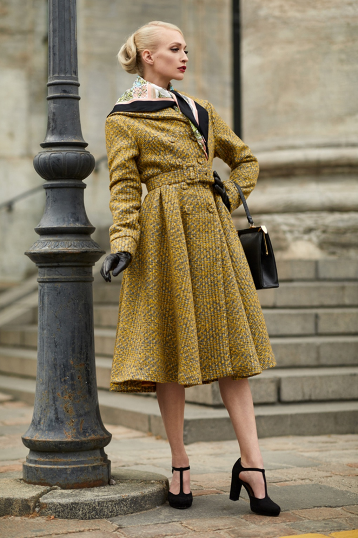 1950s Jackets, Coats, Bolero | Swing, Pin Up, Rockabilly 50s Garance Boucle Coat in Yellow £164.01 AT vintagedancer.com