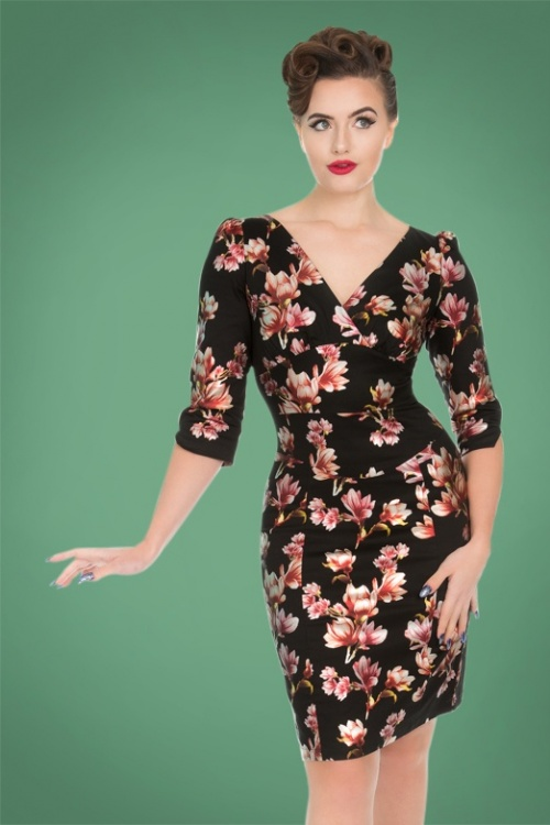 Hearts and Roses Black Floral Pencil Dress 100 14 26951 20181024 008