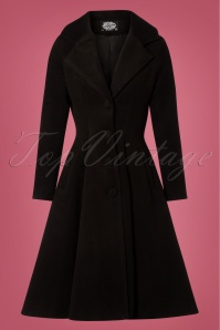 Hearts & Roses 50s Lauren Swing Coat in Black