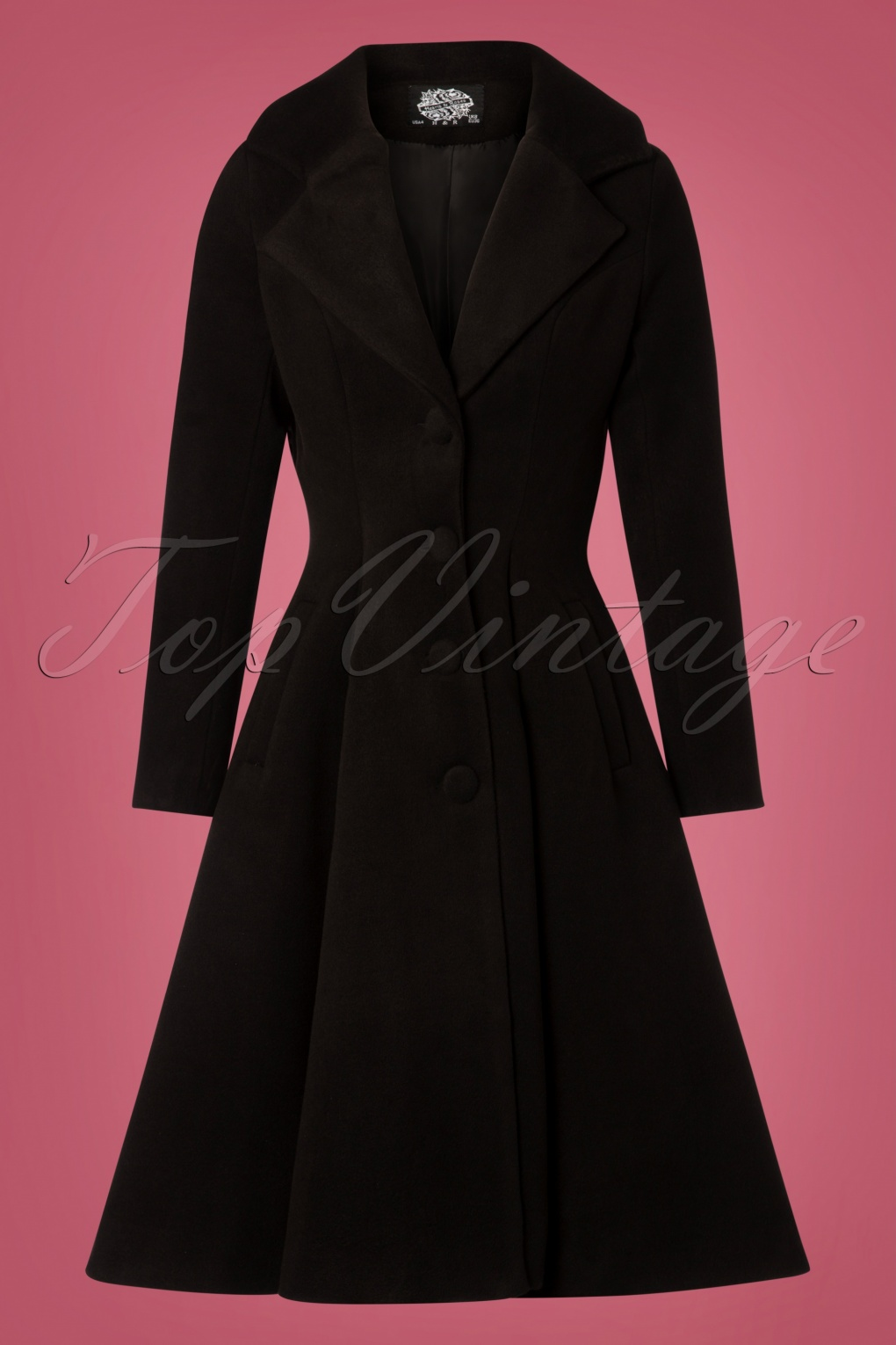 Vintage Coats & Jackets | Retro Coats and Jackets 50s Lauren Swing Coat in Black £97.49 AT vintagedancer.com