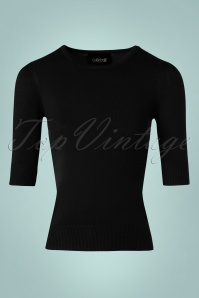 50s Chrissie Knitted Top in Black