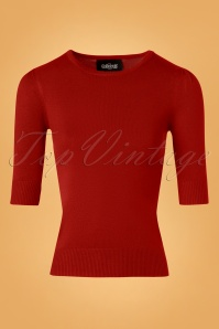 Collectif Clothing Chrissie Plain Knitted Top Red 27495 20180921 0002W
