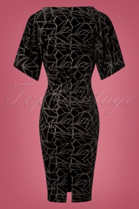 Vintage Chic Black and Silver Pencil Dress 100 14 28019 20181019 020W