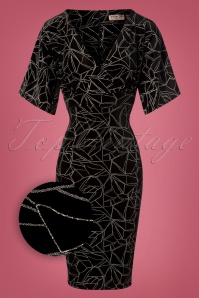 50s Viva Velvet Cross Pencil Dress in Black and Silver