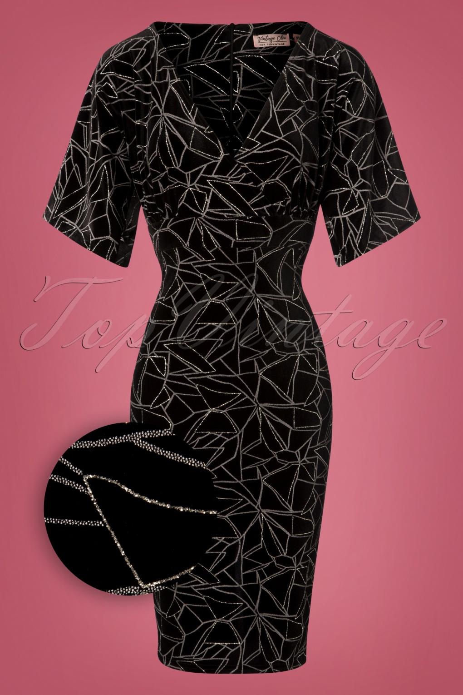 Rockabilly Dresses | Rockabilly Clothing | Viva Las Vegas 50s Viva Velvet Cross Pencil Dress in Black and Silver £53.51 AT vintagedancer.com