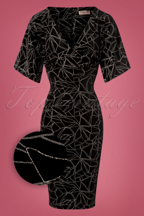 Vintage Chic Black and Silver Pencil Dress 100 14 28019 20181019 013Z