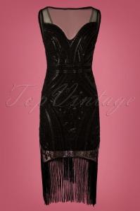 Vintage Chic for TopVintage Rosalie Fringe Flapper Dress Années 20 en Noir