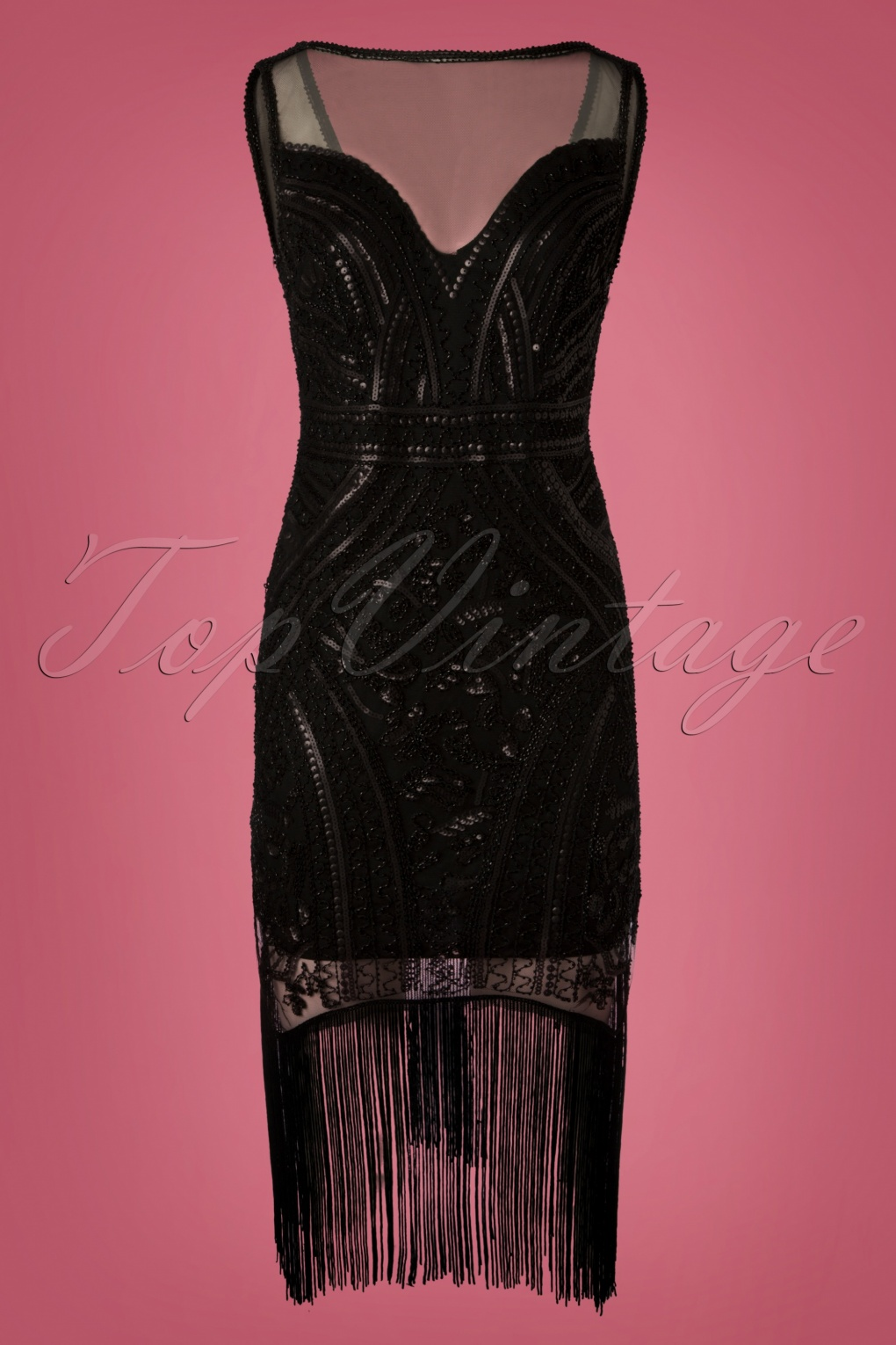 1920s Evening Dresses & Formal Gowns 20s Rosalie Fringe Flapper Dress in Black £52.49 AT vintagedancer.com