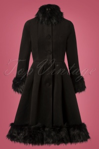 Hearts and Roses Black Fake Fur Coat 152 10 28284 20181024 003W