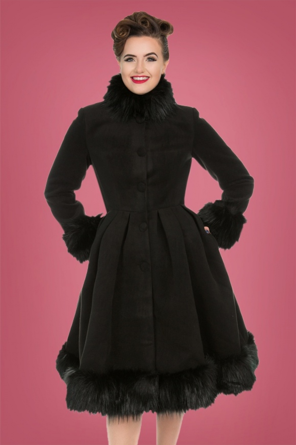 1950s Jackets, Coats, Bolero | Swing, Pin Up, Rockabilly 50s Elsie Coat in Black £59.04 AT vintagedancer.com