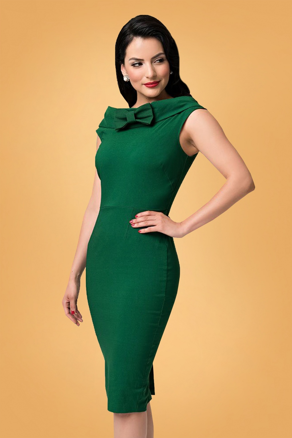 1960s – 70s Cocktail, Party, Prom, Evening Dresses 60s Barbie Sheath Dress in Emerald Green £108.77 AT vintagedancer.com