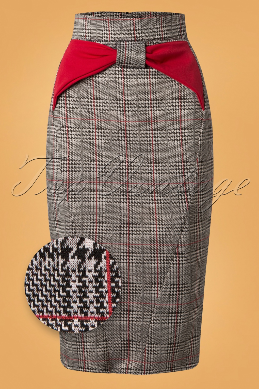 1950s Fashion History: Women's Clothing 50s Sasha Rose Tartan Pencil Skirt in Black and Red £48.95 AT vintagedancer.com