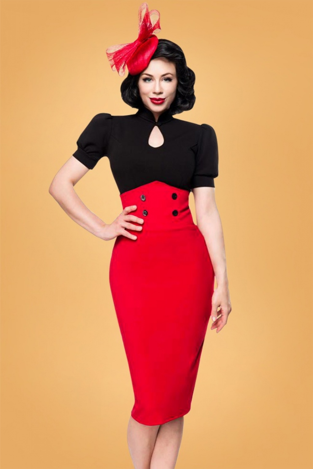 1950s Fashion History: Women's Clothing 50s Andrea Pencil Skirt in Lipstick Red £34.83 AT vintagedancer.com