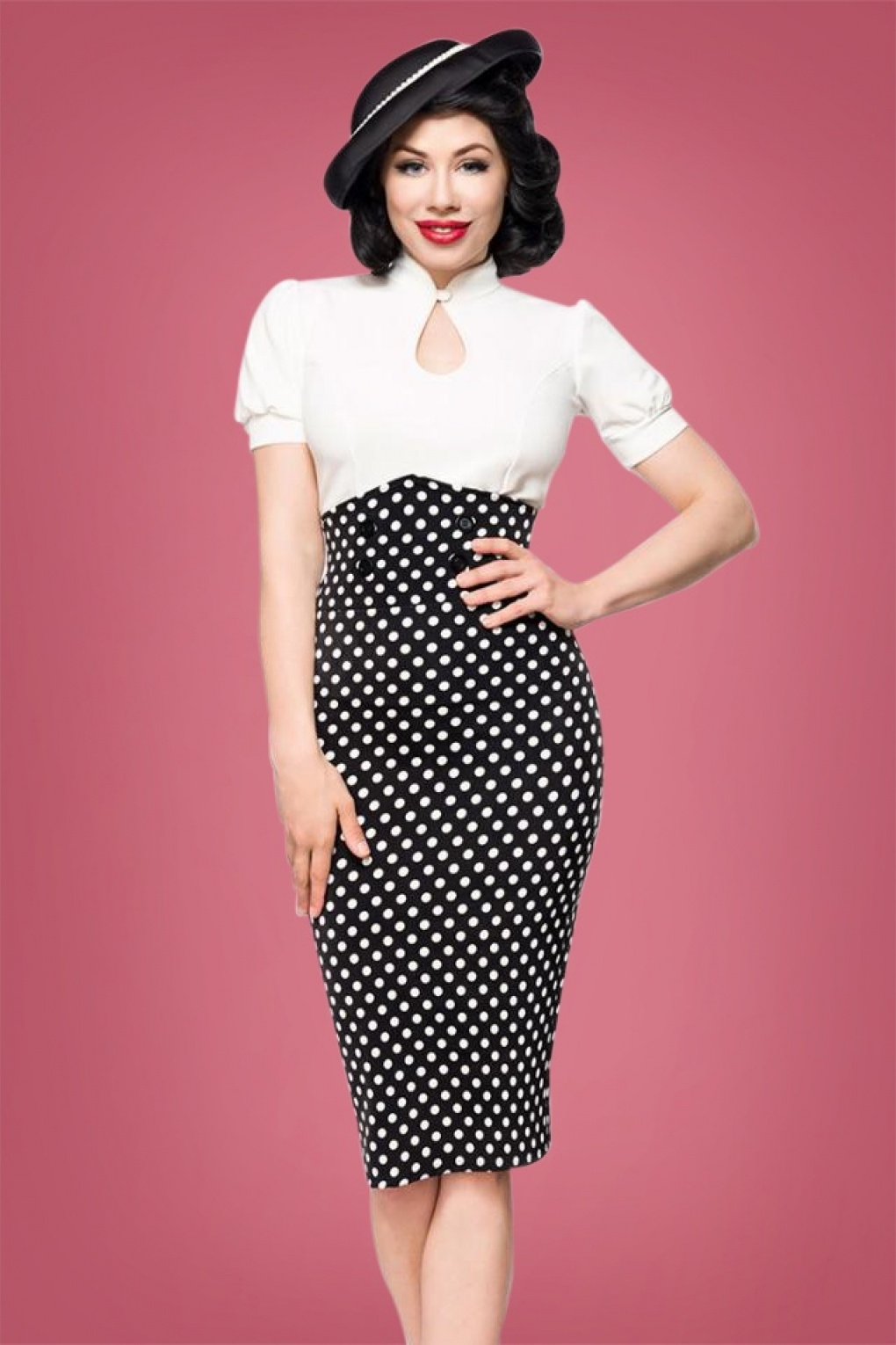 Polka Dot Dresses: 20s, 30s, 40s, 50s, 60s 50s Andrea Polkadot Pencil Skirt in Black £35.58 AT vintagedancer.com