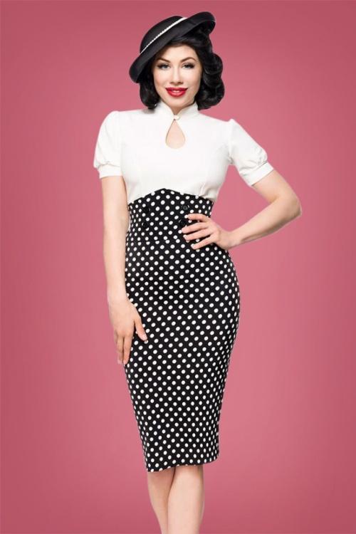 Bellissima Polkadot Pencil Skirt 28384 1