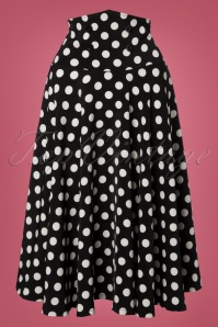 50s Andrea Polkadot Swing Skirt in Black
