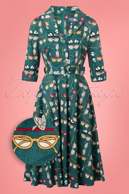 1960s Dresses | 60s Dresses Mod, Mini, Jakie O, Hippie 50s Carla Geek Swing Dress in Teal £73.14 AT vintagedancer.com