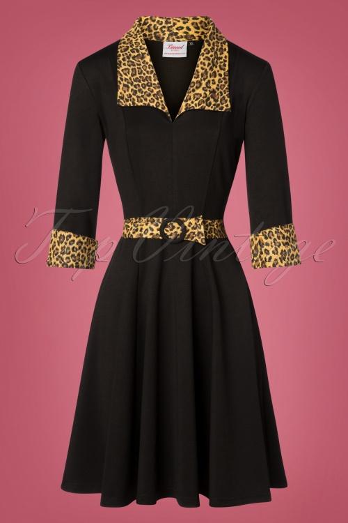 50s Rock N Roll Leopard Swing Dress in Black