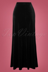 Vintage Chic Black Plain Velvet Maxi Skirt 129 10 28013 20181025 004W