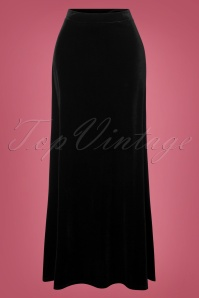 Vintage Chic Black Plain Velvet Maxi Skirt 129 10 28013 20181025 003W