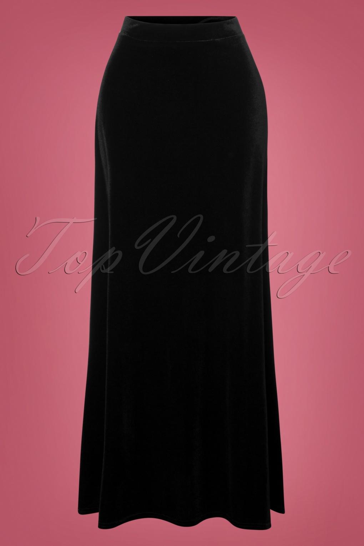 1960s – 70s Cocktail, Party, Prom, Evening Dresses 70s Sabrina Velvet Maxi Skirt in Black £39.36 AT vintagedancer.com