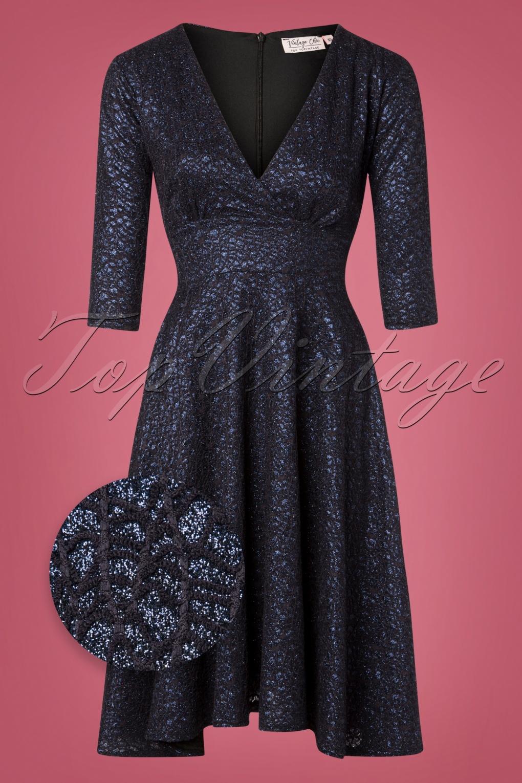 Vintage Cocktail Dresses, Party Dresses, Prom Dresses 50s Rosie Glitter Swing Dress in Navy £61.08 AT vintagedancer.com