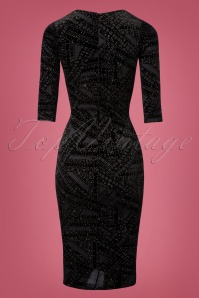 Vintage Chic Black Glitter Pencil Dress 100 14 28031 20181025 004W