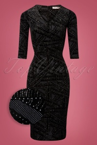 50s Lizan Glitter Velvet Pencil Dress in Black