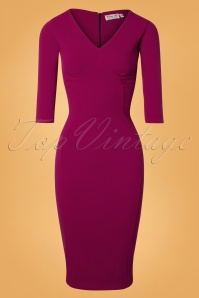 50s Sherry Long Sleeve Pencil Dress in Amaranth