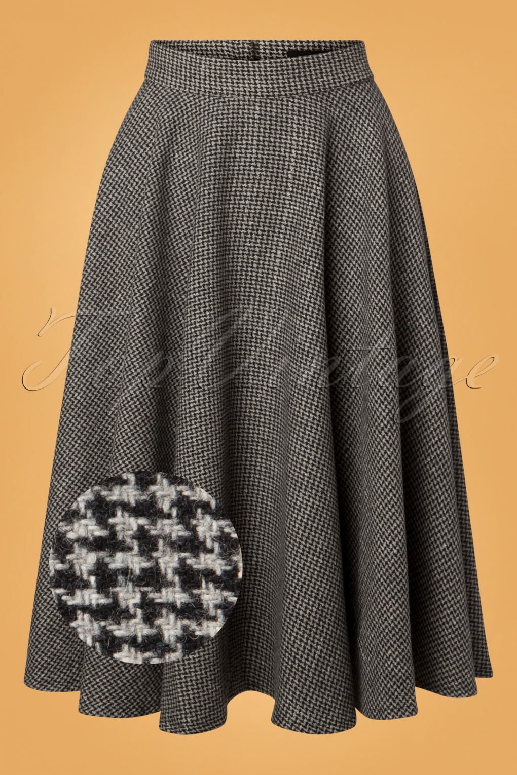 1940s Style Skirts- Vintage High Waisted Skirts 40s Sophie Houndstooth Skirt in Grey £62.70 AT vintagedancer.com