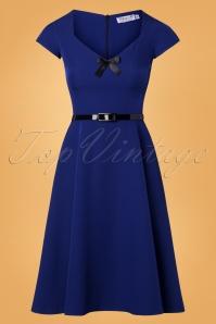 Nanda Bow Swing Dress Années 50 en Bleu Roi