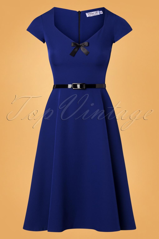 50s Dresses UK | 1950s Dresses, Shoes & Clothing Shops 50s Nanda Bow Swing Dress in Royal Blue £33.81 AT vintagedancer.com