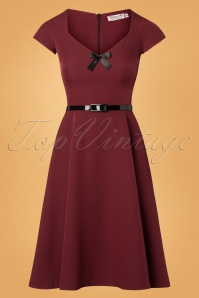 Nanda Bow Swing Dress Années 50 en Bordeaux