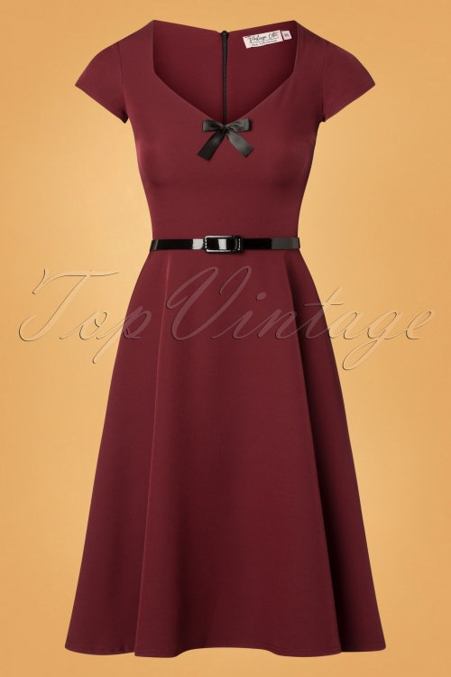 Vintage Chic Zinfandel With Belt And Bow Dress 102 20 26389 20181025 010W