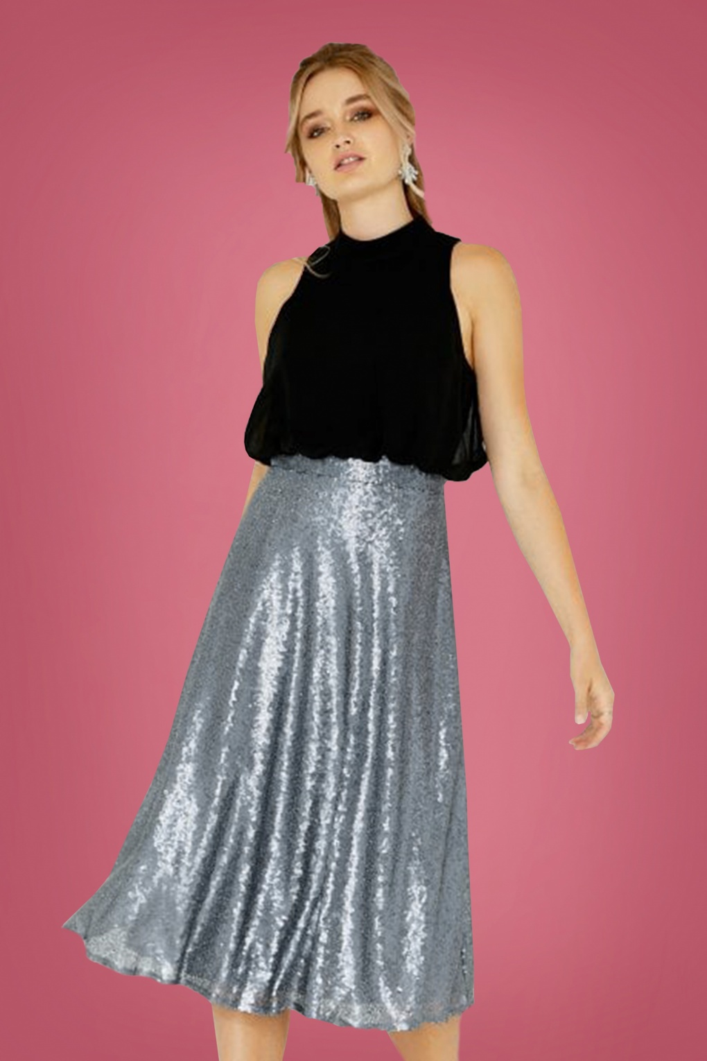 50s Celine Sequin Skirt Dress In Black And Silver