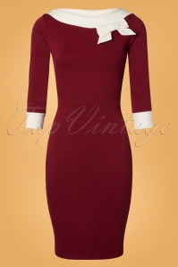 50s Dreamboat Dollie Wiggle Dress in Burgundy