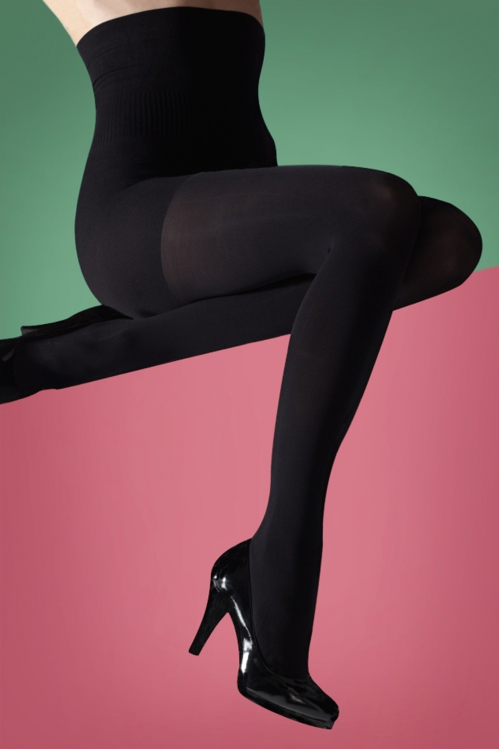 1960s Tights, Stockings, Panty Hose, Knee High Socks 50s Hourglass Shaper Tights in Black £10.81 AT vintagedancer.com