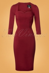 Collectif Clothing Vanessa Pencil Dress in Red 24888 20180627 0003W
