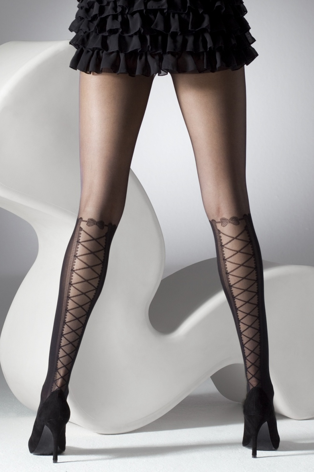 Seamed Stockings, Nylons, Tights 50s Lace-Up Over The Knee Tights in Black £8.71 AT vintagedancer.com